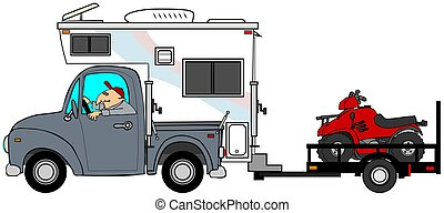 Truck & camper pulling ATV's - This illustration depicts a...