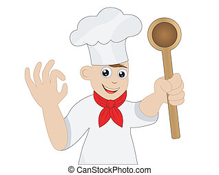 man cook with a spoon in a hand