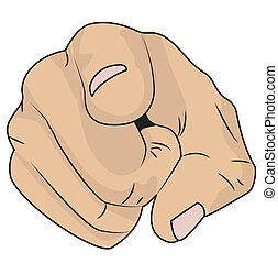hand shows an index finger, vector illustration