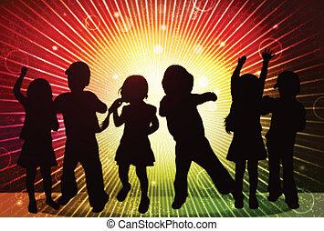 silhouetten, Kinder, glücklich