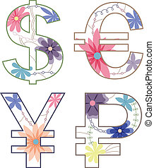 vintage money symbols - vector set of vintage money symbols