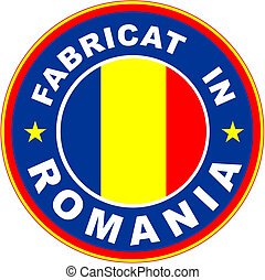 fabricat in romania - made in romania flag product label...