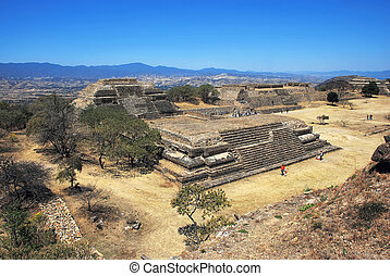 Aerial view of Monte Alban Ruins, Oaxaca, Mexico
