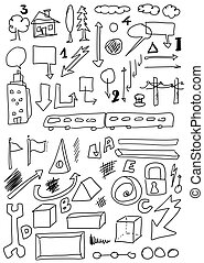 hand drawn shapes and object
