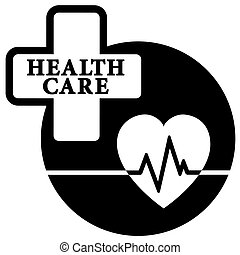 health care medical icon - black isolated health care...