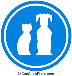 pet blue icon- pet shop isolated emblem