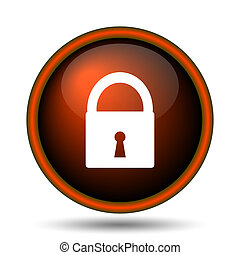 Lock icon. Internet button on white background.