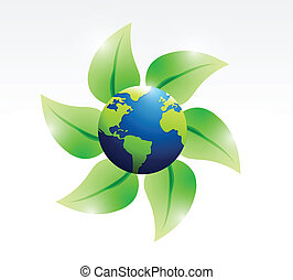 leaves and eco globe illustration design
