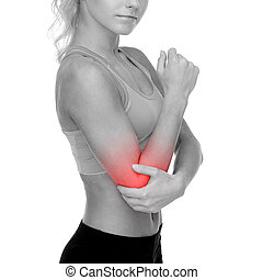 sporty woman with pain in elbow - healthcare, fitness and...