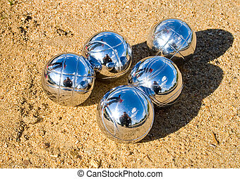 petanque balls - playing the french petanque, balls on the...