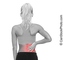 sporty woman touching her back - fitness, healthcare and...