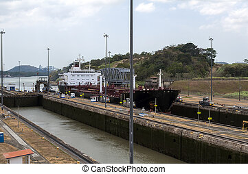 Ship at the Panama Canal. - Transport ship at the Miraflores...