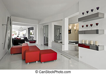 modern living room - red sofa in the modern living room