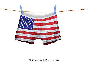 Underwear with the USA flag on a string against white...