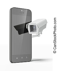 Security camera and smartphone isolated on a white...