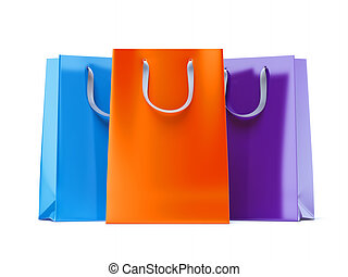 Three paper bags isolated on a white background. 3d render