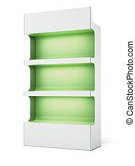 Green supermarket shelves