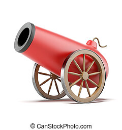 Red cannon isolated on a white background. 3d render