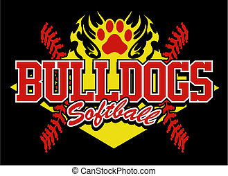 bulldog softball design with flaming paw print and red...