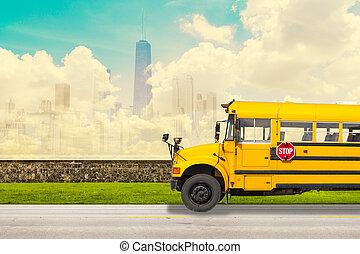 escuela, autobús, con, chicago, contorno, Plano de...