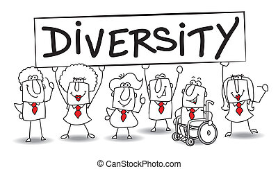 Diversity - Different ethnic people are in the office...