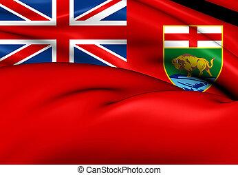 Flag of Manitoba, Canada. Close Up.