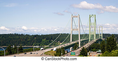 Highway 16 Crossing Puget Sound Over Tacoma Narrows Bridge -...