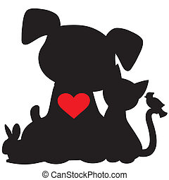 Puppy Kitten Silhouette - A silhouette of a group of pets...