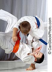 treinamento, judo, lançamento, desportista