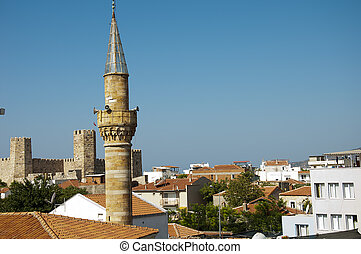 anatolia - image with in front of a mosque minaret muslim...
