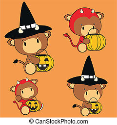 bull baby animal halloween costume set in vector format very...