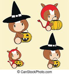 horse baby animal halloween costume set in vector format...