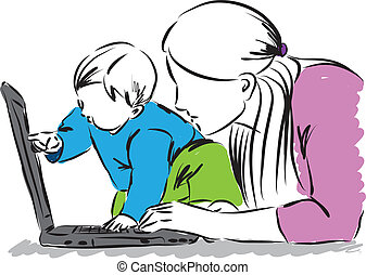 baby and mom at the computer laptop illustration