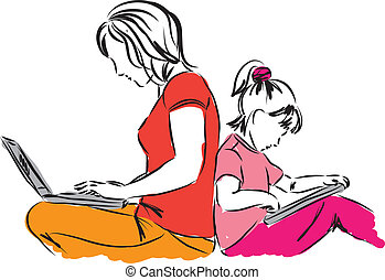 mom and daughter sitting down with computers illustration