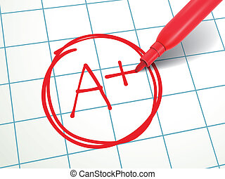 a paper is graded A Plus with red pen - close up look at A...