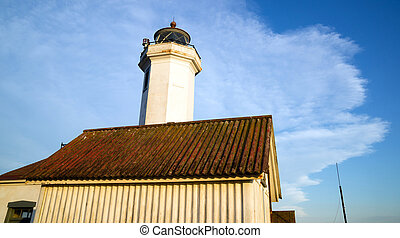 Point Wilson Lighthouse Puget Sound Fort Worden - Low angle...