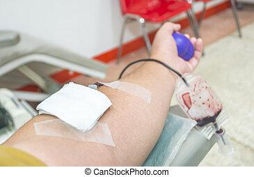 患者, 病院, の上,  transfused, 血, 終わり
