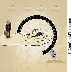 Hand with business man on circle