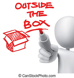 outside the box written by a man over white background