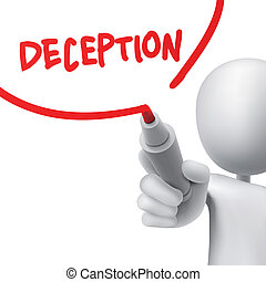 deception written by a man over white background