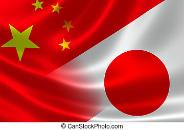 Merged Flag of China and Japan - 3D rendering of a merged...