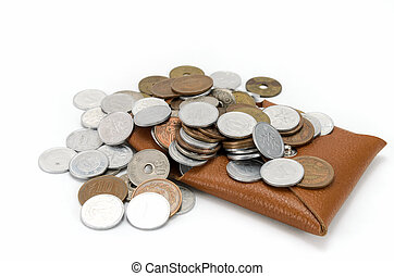 Coins and coin purse on white background