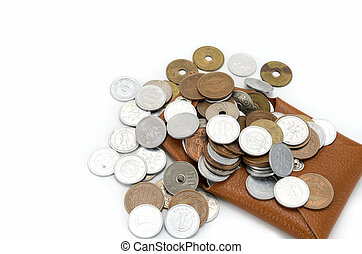 Coins and coin purse. on white background.