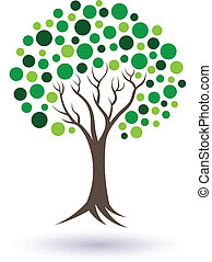 Green circles tree image. Concept of well being and natural life.Vector icon