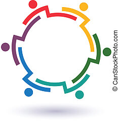 Teamwork 6 circle interlaced.Concept group of connected people , helping each other.Vector icon
