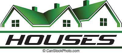 Green houses real estate image. Vector icon