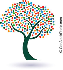 Multicolored circles tree image Concept of fruitful and...