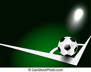 Soccer ball - Soccer or football ball in corner on green...