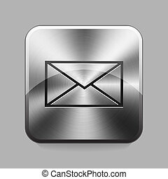 Chrome button - Mail chrome button or icon vector...