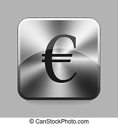 Chrome button - Euro symbol chrome button or icon vector...